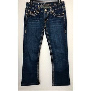 L.A. IDOL Thick-Stitch Bling Bootcut Jeans ~Size 7